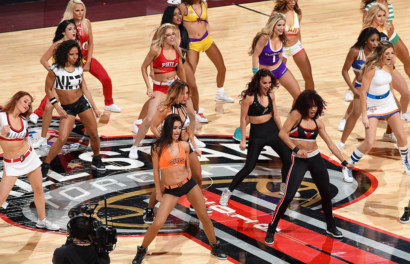 NBA team dancers are seen during the Three-Point Contest.