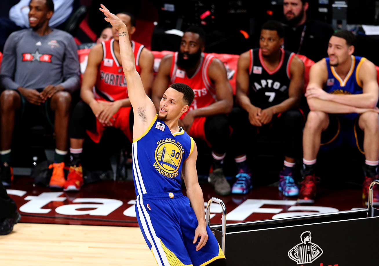 Stephen Curry of the Golden State Warriors shoots in the Three-Point Contest during NBA All-Star Weekend in Toronto.