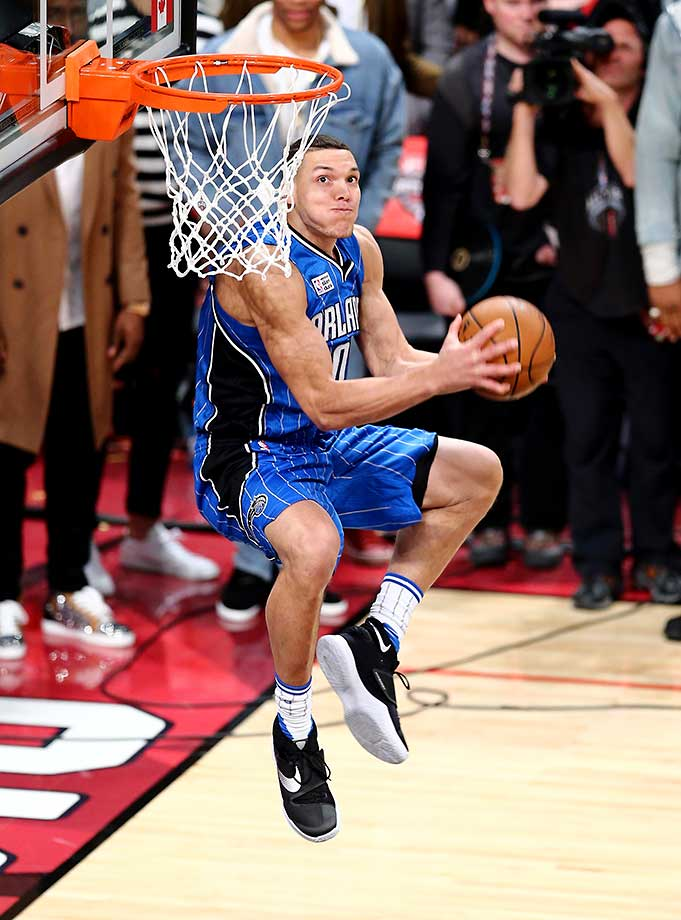 Aaron Gordon of the Orlando Magic finished second in the slam dunk contest during NBA All-Star Weekend.