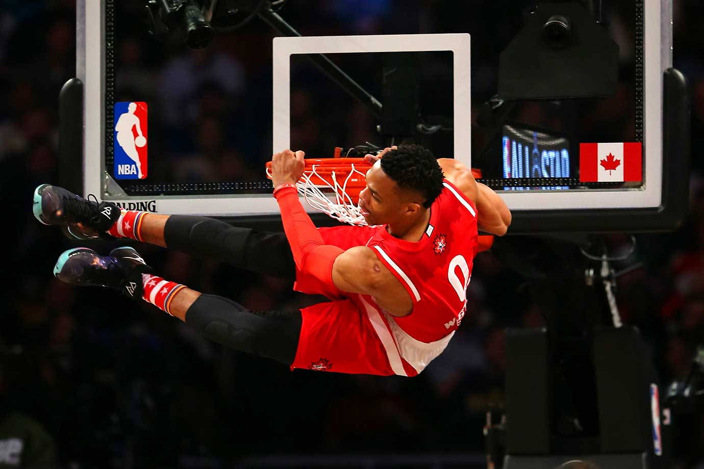 Russell Westbrook dunks on a night in which he would be named All-Star Game MVP.