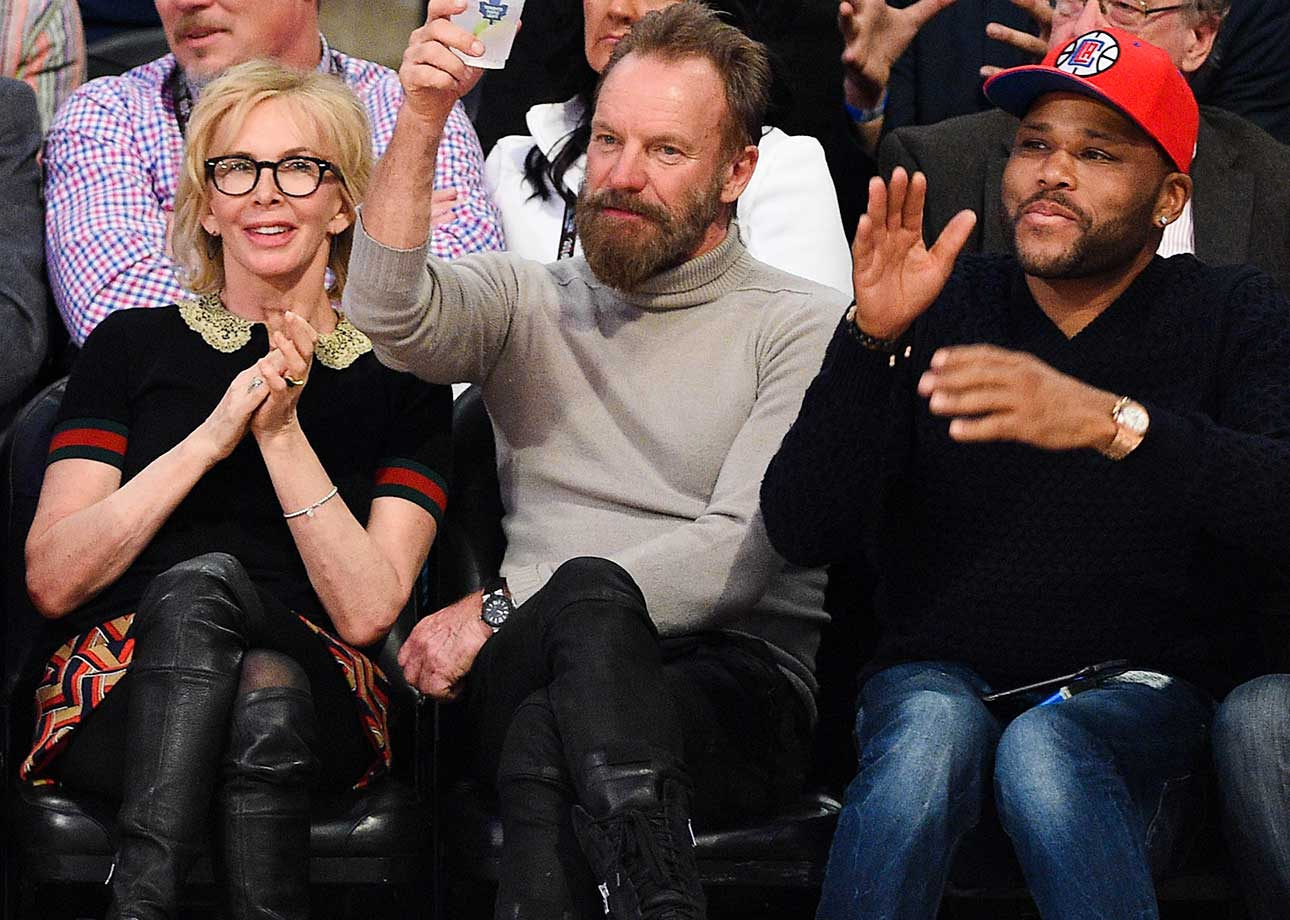 Trudie Styler, Sting and actor Anthony Anderson at the All-Star Game.