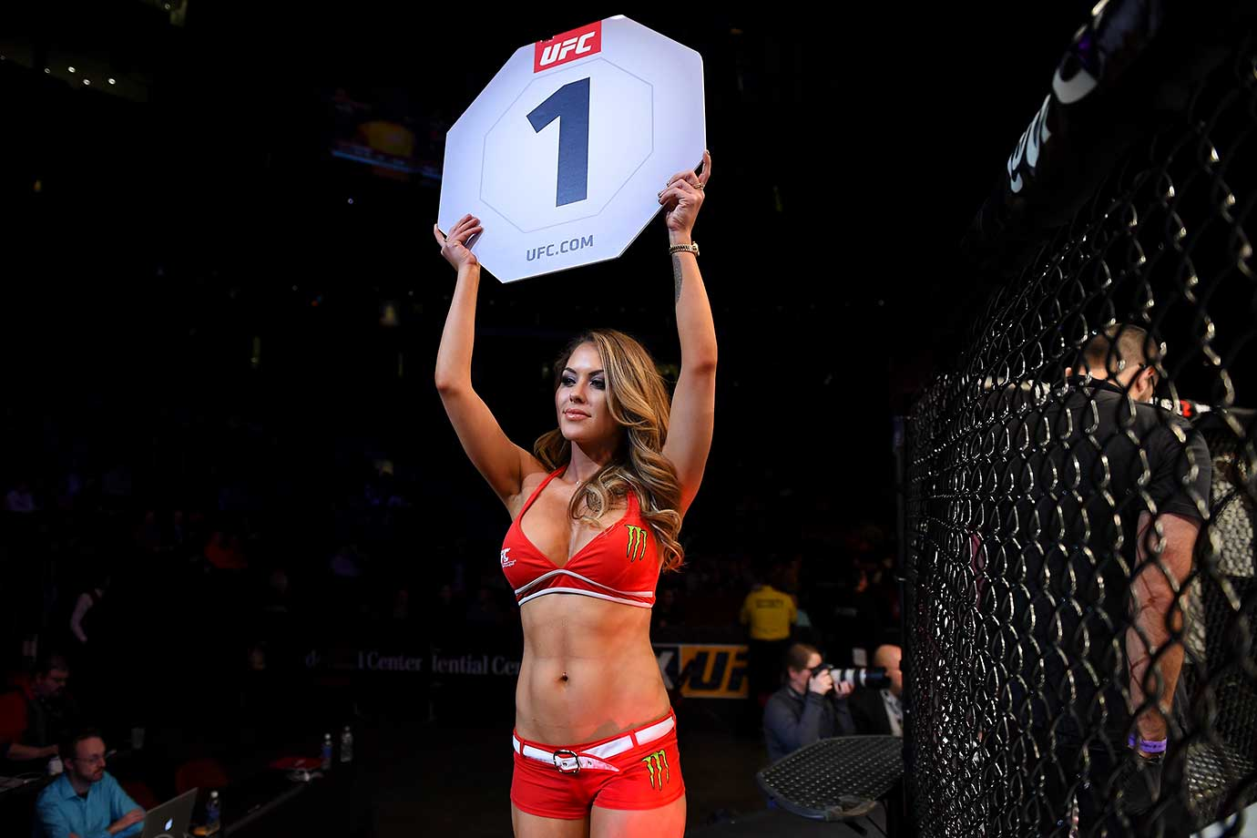 UFC Octagon Girl Brittney Palmer introduces the first round during the UFC Fight Night event at the Prudential Center in Newark, N.J.