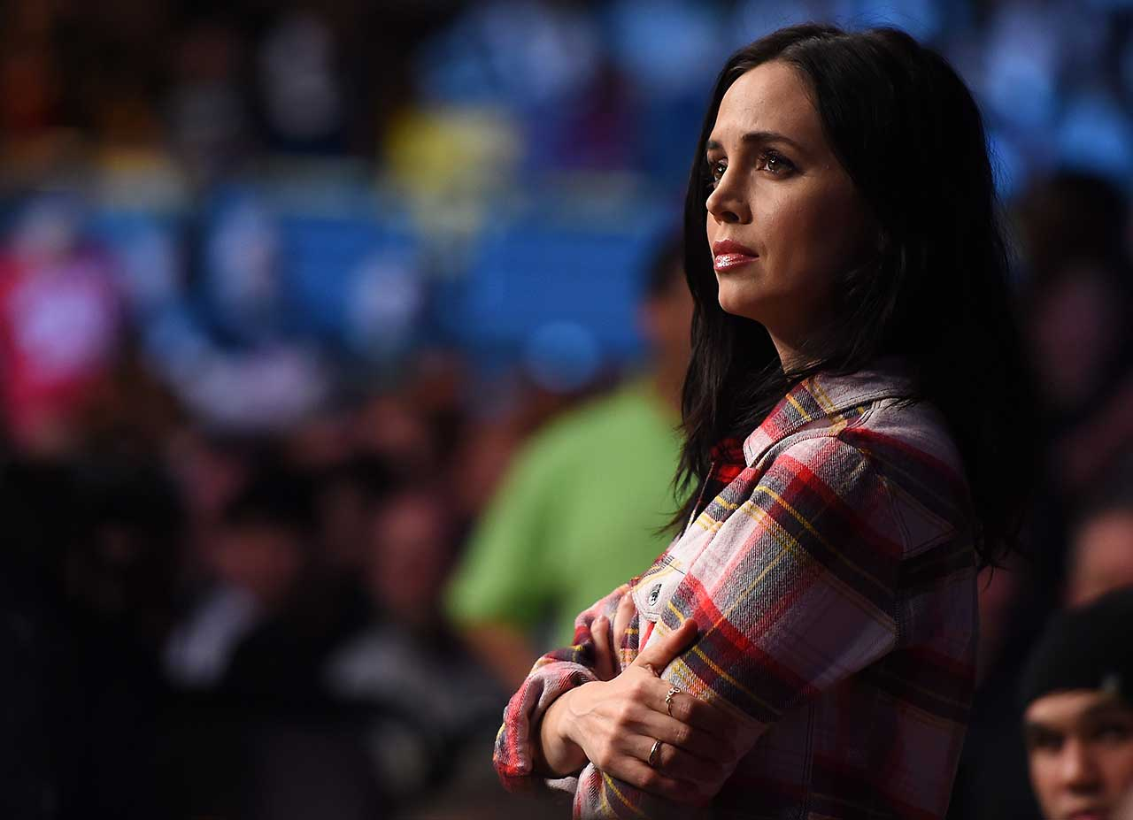 Actress Eliza Dushku looks on during the UFC Fight Night event in Boston.