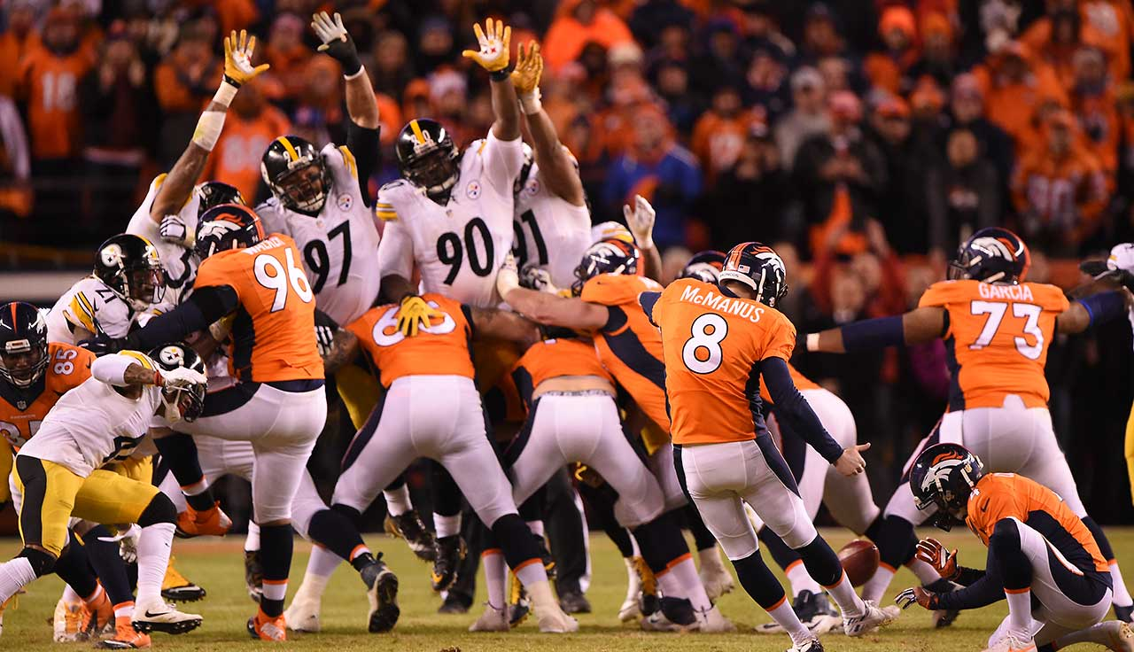 Brandon McManus of the Denver Broncos hits the last of his five goals to send the Pittsburgh Steelers home from the NFL playoffs.