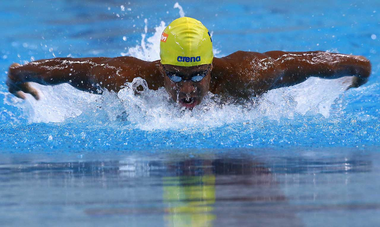 Simon Sjodin swims in the 200 meter butterfly during the Arena Pro Swim Series at Austin.