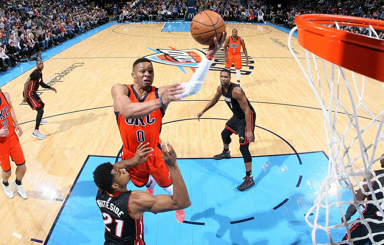 Russell Westbrook of the Oklahoma City Thunder heads to the basket against the Miami Heat.