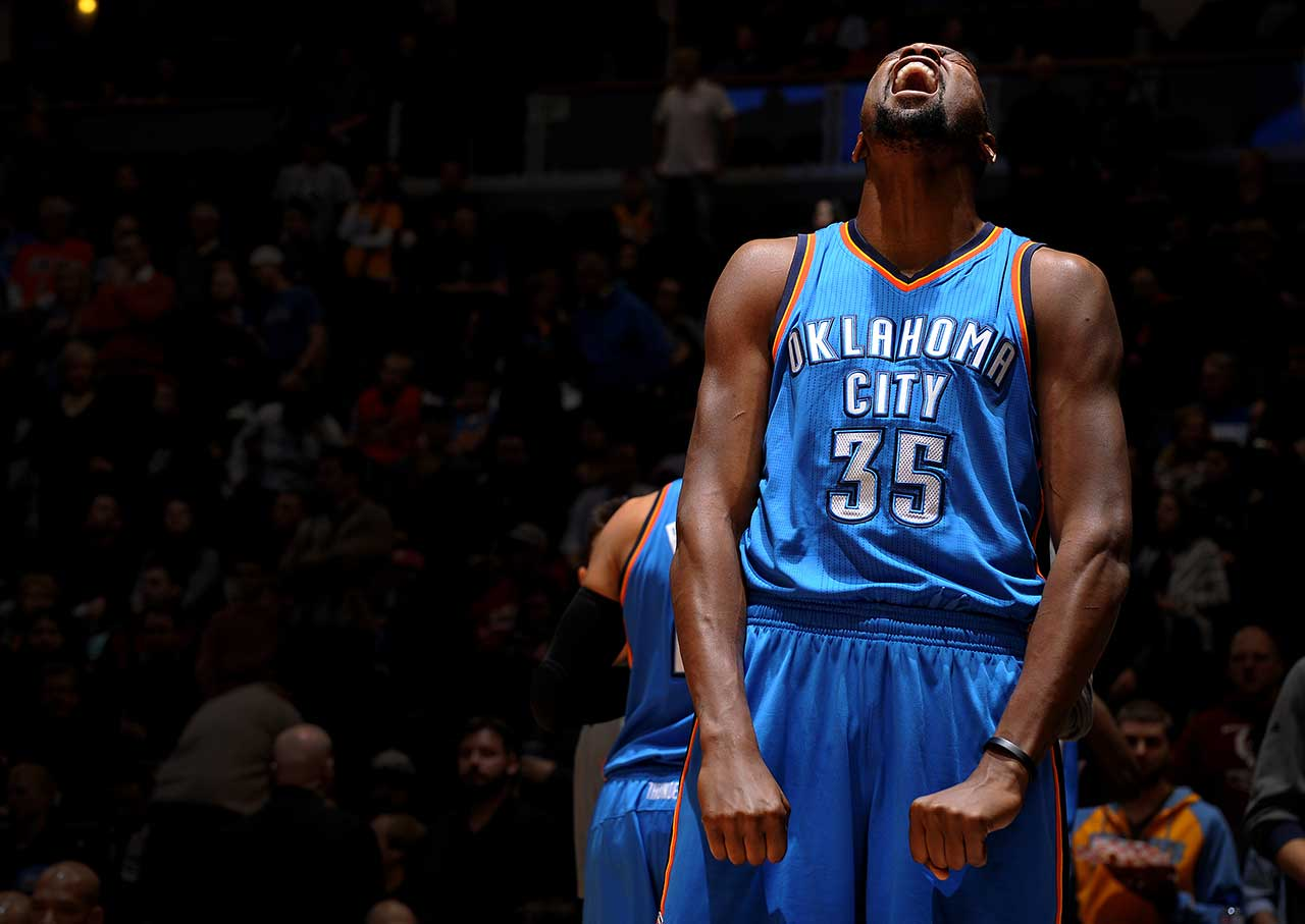 Here are some of the images that caught our eye during the sports night of Jan. 19, starting with Kevin Durant of the Oklahoma City Thunder showing a little emotion while playing the Denver Nuggets.