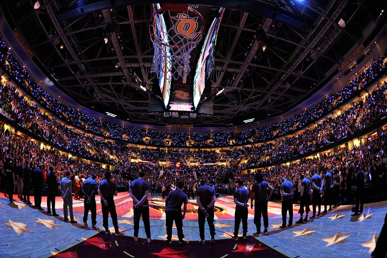The Cleveland Cavaliers before their game against the Golden State Warriors at Quicken Loans Arena in Cleveland.