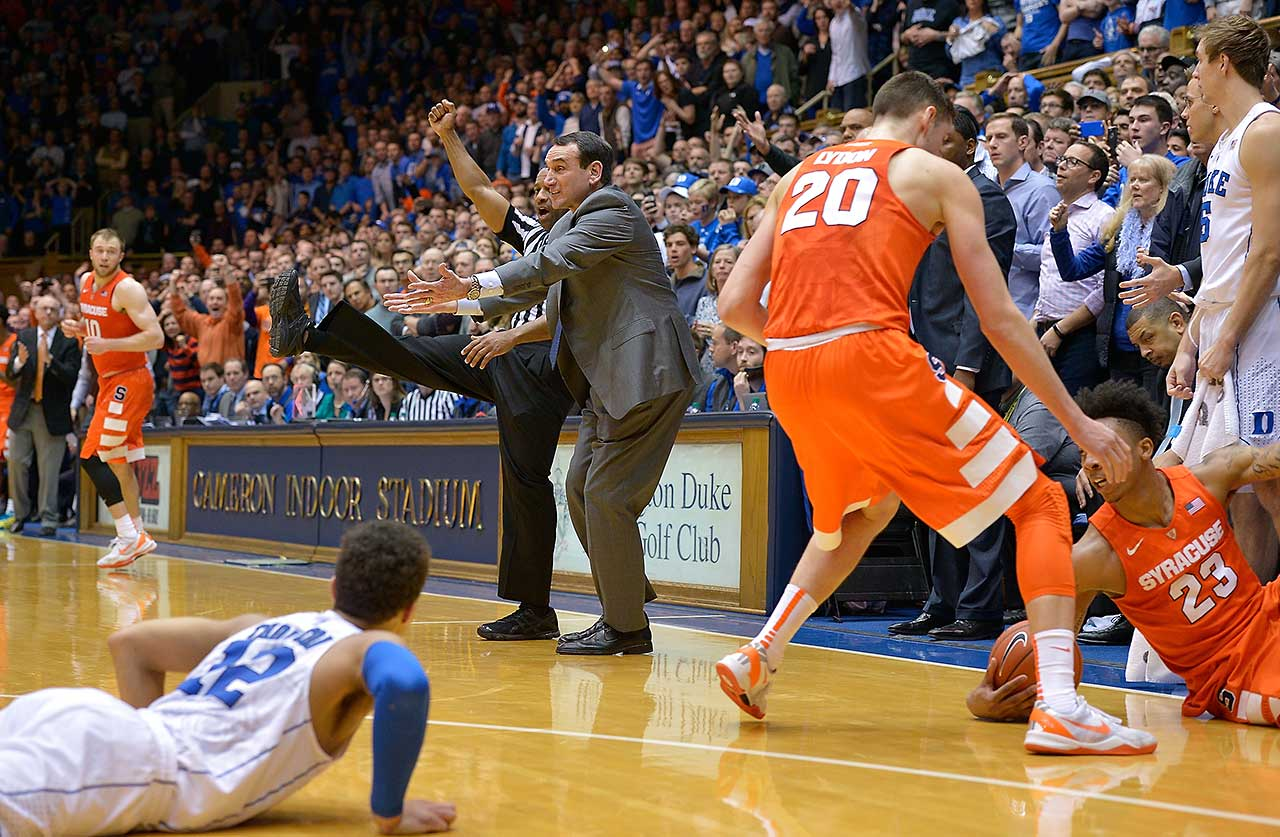 Head coach Mike Krzyzewski of Duke reacts as no foul is called during the finals few seconds of his team's 64-62 loss to the Syracuse Orange at Cameron Indoor Stadium.