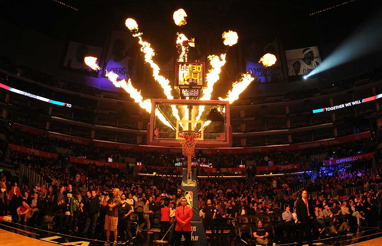 A fire show is presented before the Los Angeles Clippers face the Houston Rockets at STAPLES Center in Los Angeles.