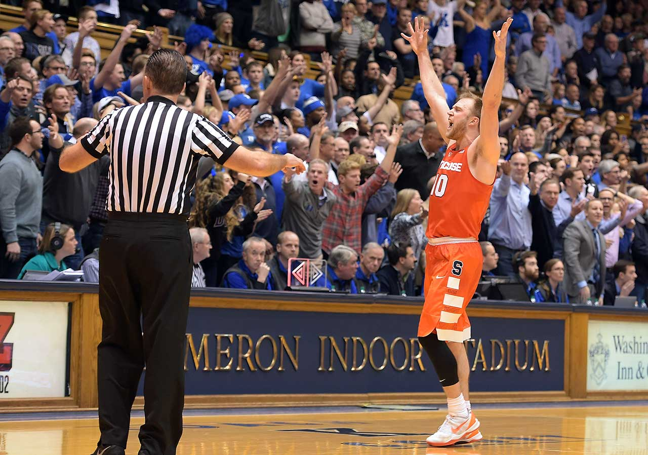 Here are some of the images that caught our eye during the sports night of Jan. 18, starting with Trevor Cooney of Syracuse celebrating following the Orange's 64-62 win over Duke at Cameron Indoor Stadium in Durham, N.C.