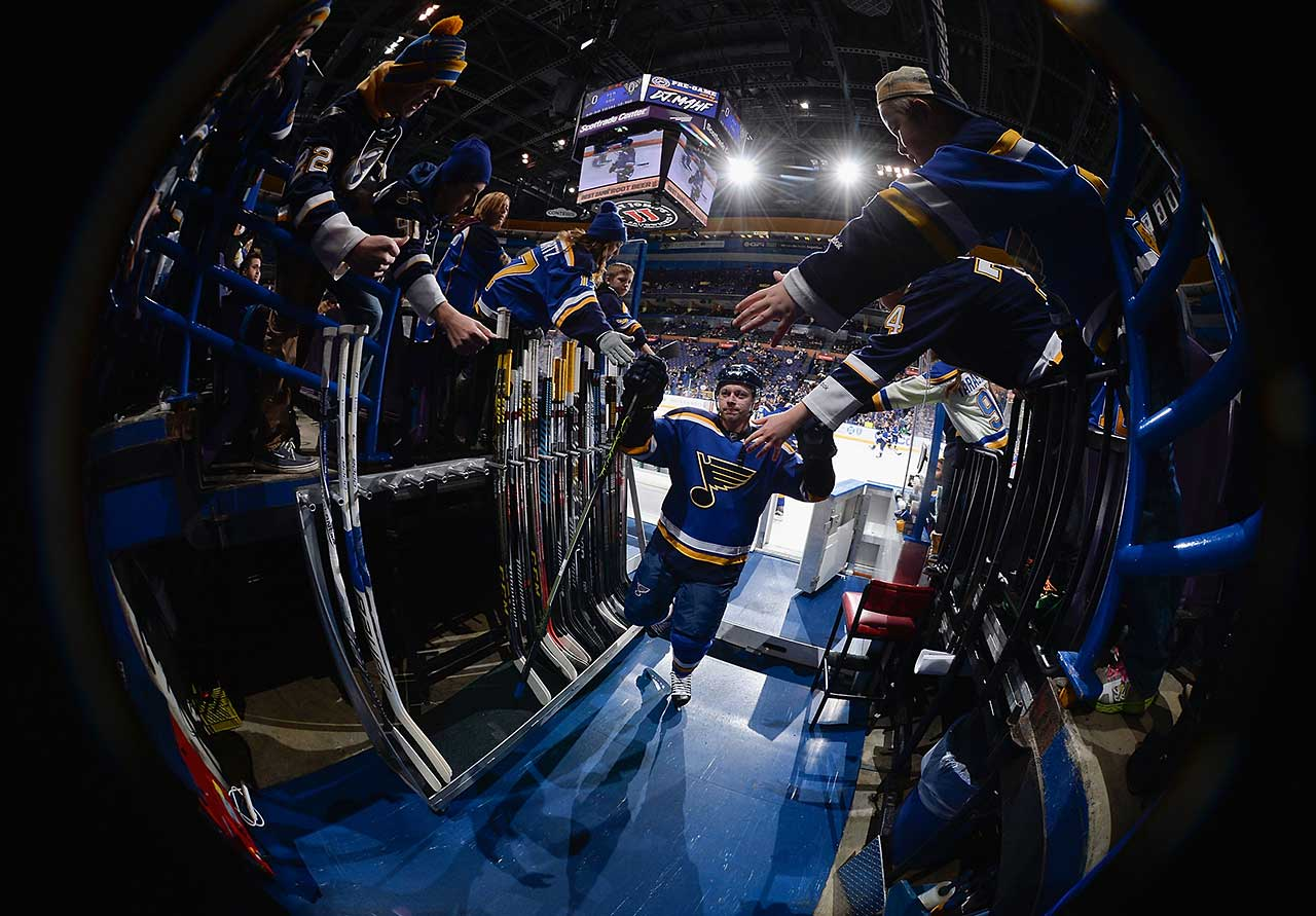Vladimir Tarasenko of the St. Louis Blues leaves the ice after warm-ups prior to playing against the Pittsburgh Penguins at the Scottrade Center in St. Louis.