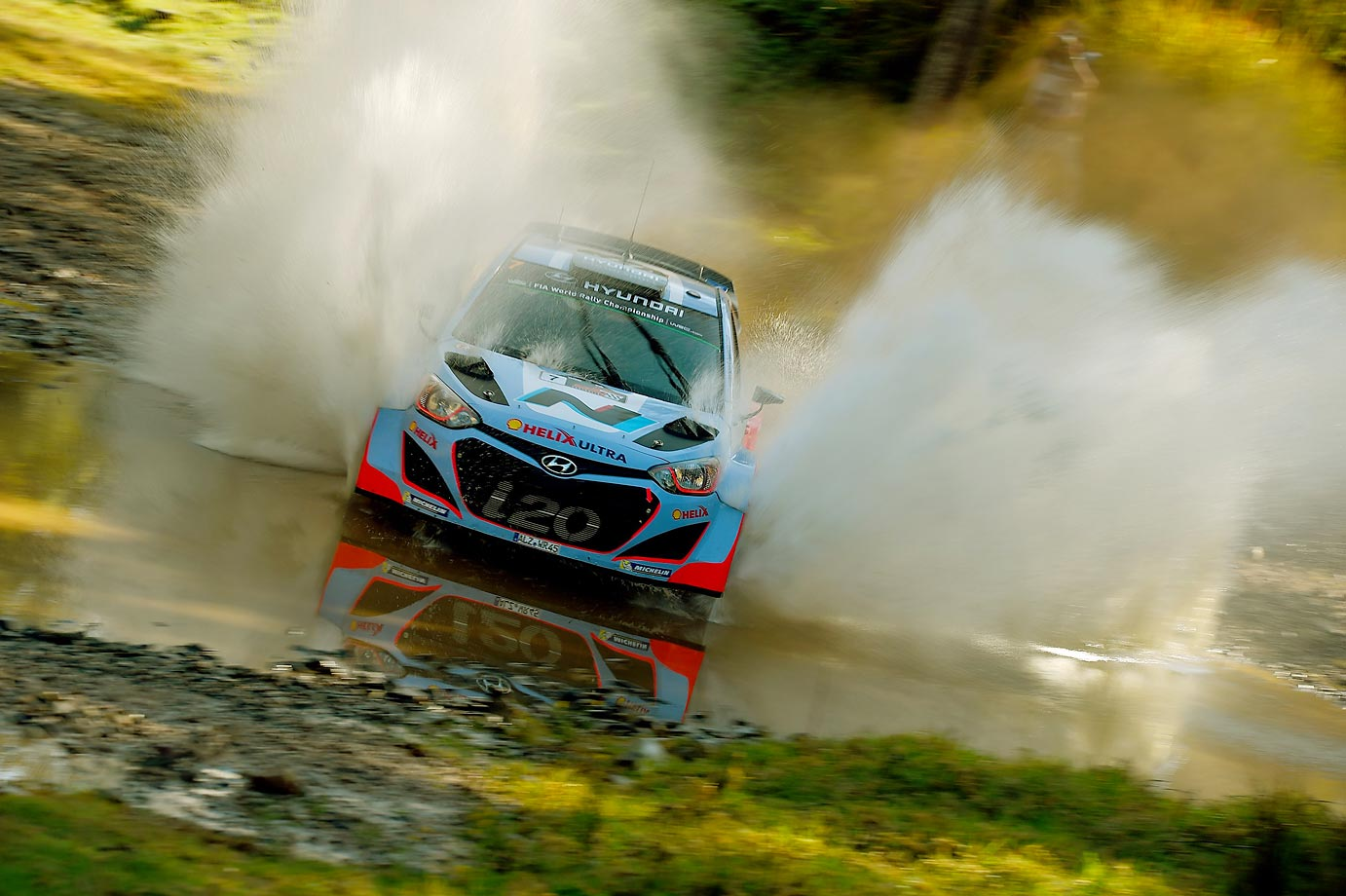 Thierry Neuville of Belgium and Nicolas Gilsoul of Belgium compete in the Hyundai Motorsport Hyundai I20 WRC.