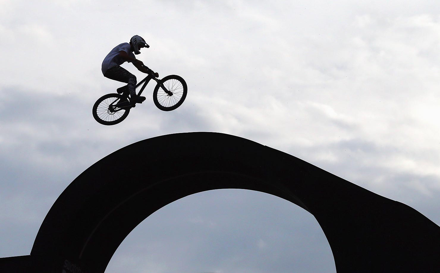 Thomas Lemoine of France rides the BMX Street Rink at the Swatch Prime Line Mountainbike finale at Munich Olympic Park.