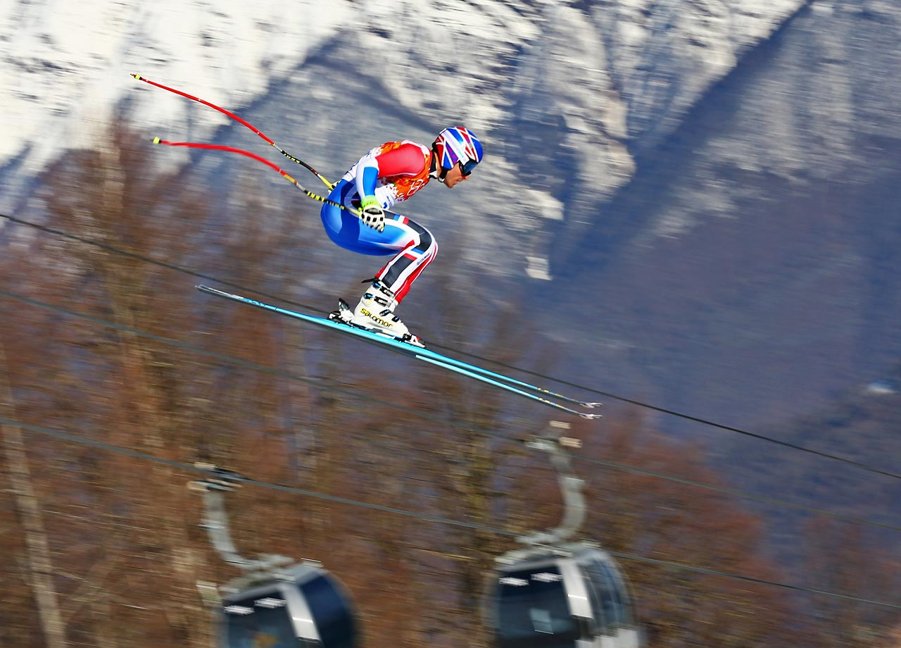 Thomas Mermillod Blondin of France competes during the Super Combined Downhill.
