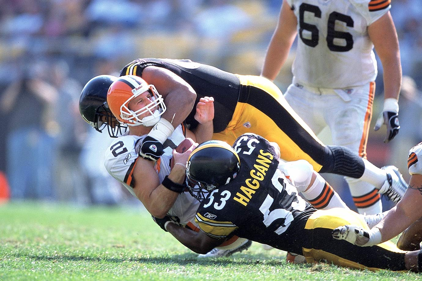 With the number one pick, the Browns had their choice of two of what would become the biggest quarterback busts of all time, Tim Couch and Akili Smith, and eventually took the Heisman trophy finalist Couch. While Couch made 62 starts with the Browns in comparison to Smith's 17 with the Bengals, his numbers were entirely mediocre. Couch threw for a miserable 11,571 yards, 64 touchdowns, and 67 interceptions in five injury-plagued seasons. After being released at the end of the 2003 season, he attempted several comebacks but failed in each of them. His decline culminated when he tested positive for steroids and HGH in August 2007.