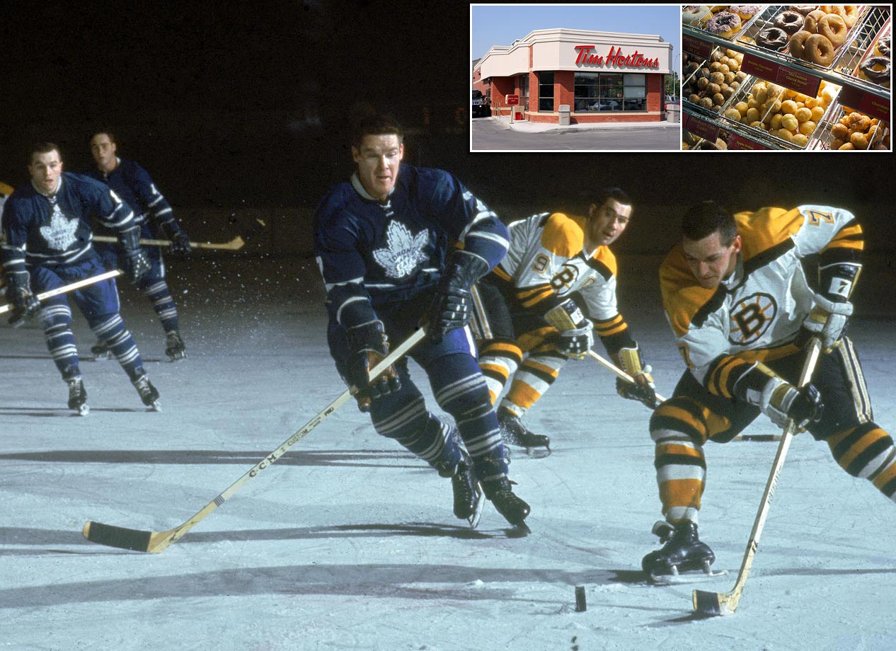 Toronto Maple Leafs defenseman Tim Horton skates against Boston Bruins center Hubert 'Pit' Martin during a game at Maple Leafs Gardens in Toronto in the 1960s. The Hall of Famer, who played in the NHL for 22 years and won four Stanley Cups, founded Tim Hortons in 1964. Today, his doughnuts, coffee and hot chocolate are available at more than 1,800 locations in Canada and the U.S.