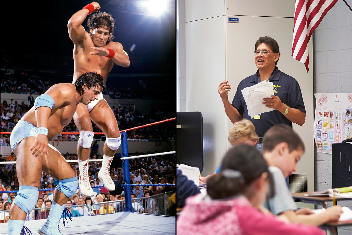 A quick study in the ring, the former wrestling star now focuses on teaching at-risk kids the value of an education. A fiery and entertaining performer, Santana dominated opponents for almost two decades before finding his second calling as a teacher.