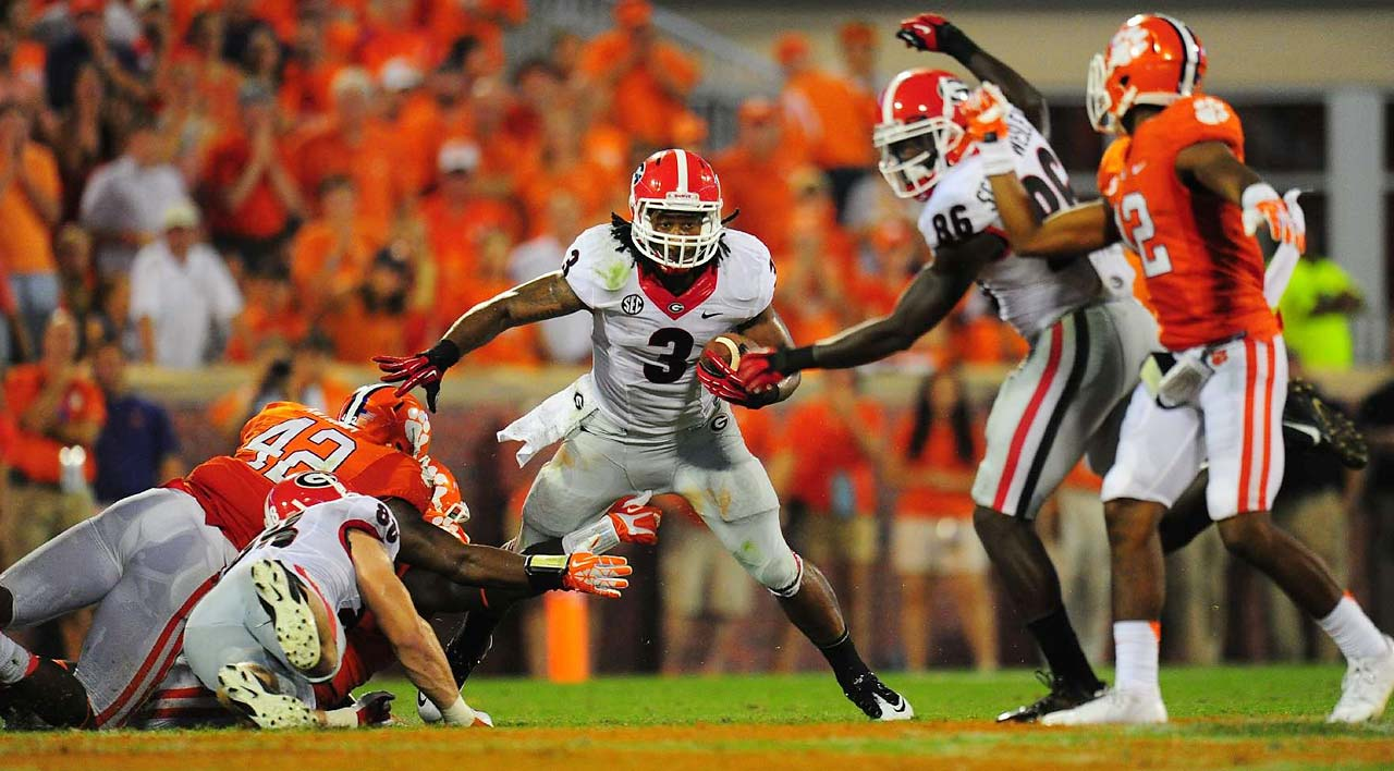 3. Clemson at Georgia (Aug. 30, 5:30 p.m., ESPN): This one won't have quite as much buzz as last year's showdown, given the departures of Tajh Boyd and Sammy Watkins to the NFL. Still, Clemson's offense shouldn't fall far as long as Chad Morris remains the coordinator. New Tigers quarterback Cole Stoudt has been in the system four years and will look to exploit a Georgia secondary that lost three projected starters (Tray Matthews, Josh Harvey-Clemons and Shaq Wiggins) during the offseason. And it's always fun to watch Bulldogs star Todd Gurley, who is arguably the nation's top returning running back. Joining him in the backfield could be Keith Marshall coming off ACL surgery and/or five-star incoming freshman Sony Michel.