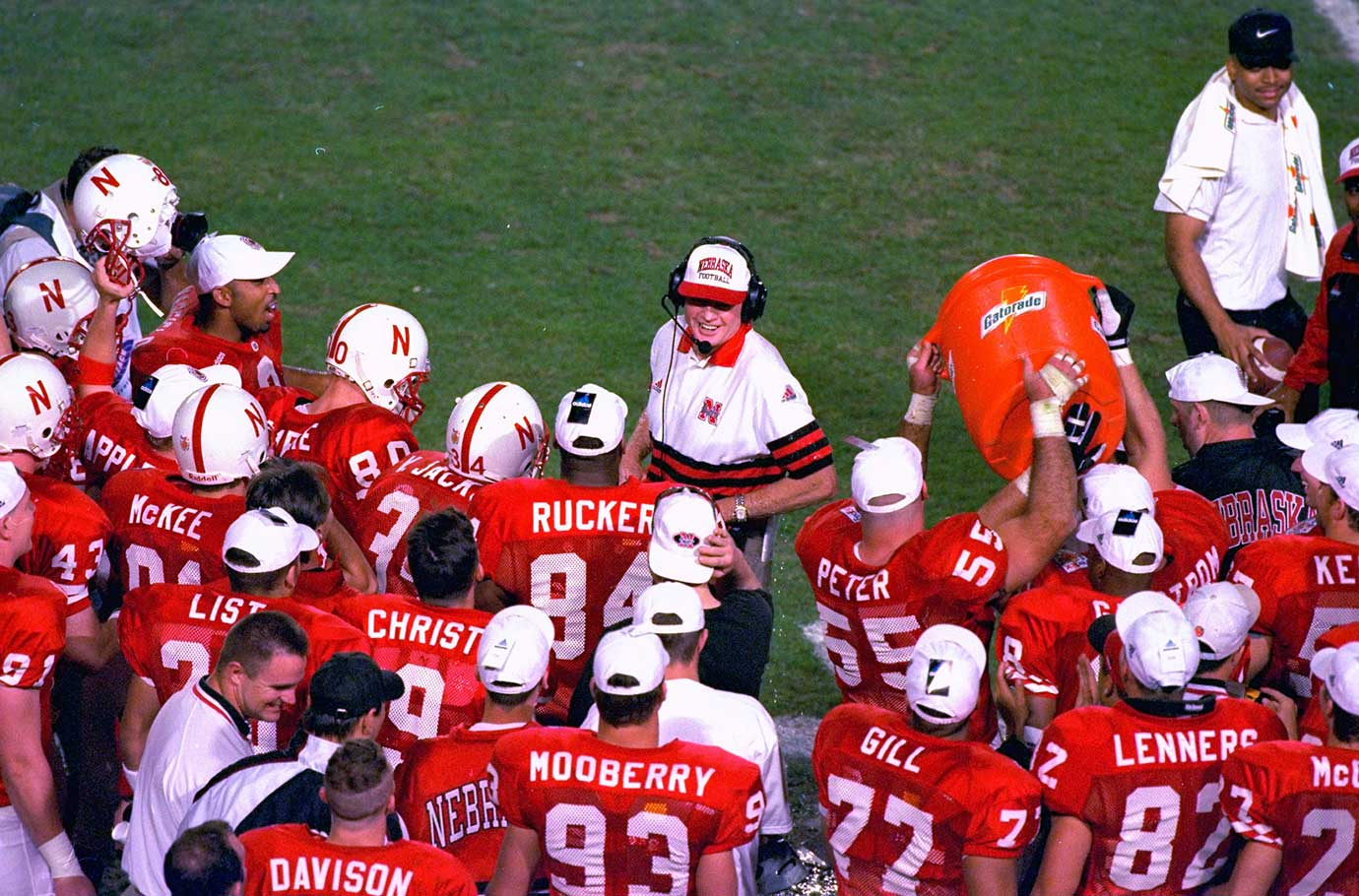 Talk about leaving on a high note. In Tom Osborne's last five years at Nebraska, the Cornhuskers went 60-3, including three national championships. In 1997, his final season, Nebraska won the Orange Bowl with a 42-17 victory over a Peyton Manning-led Tennessee squad and shared the national title with Michigan.