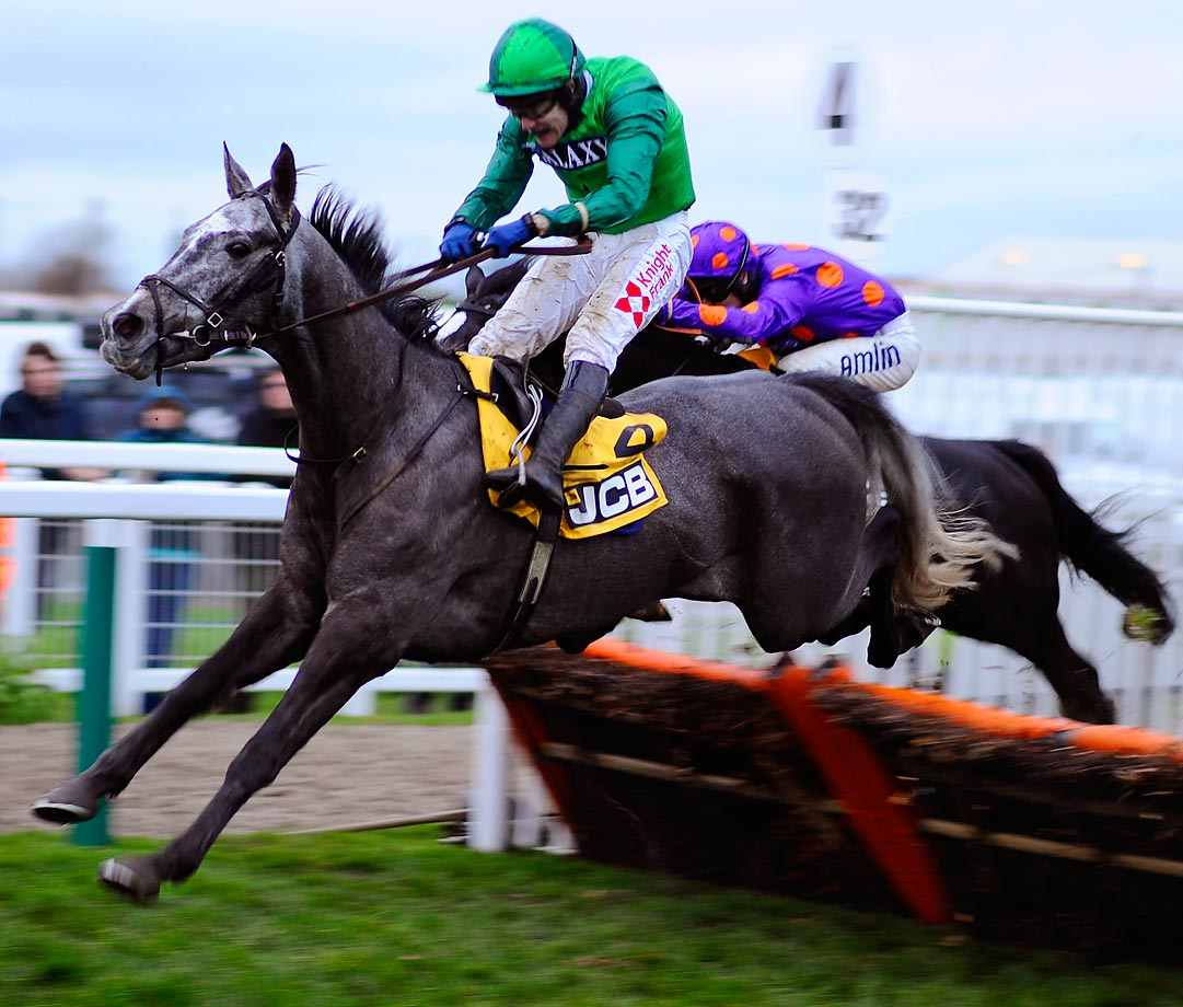 Tom Scudamore rides Baraka De Thaix at the Cheltenham racecourse in Cheltenham, England.