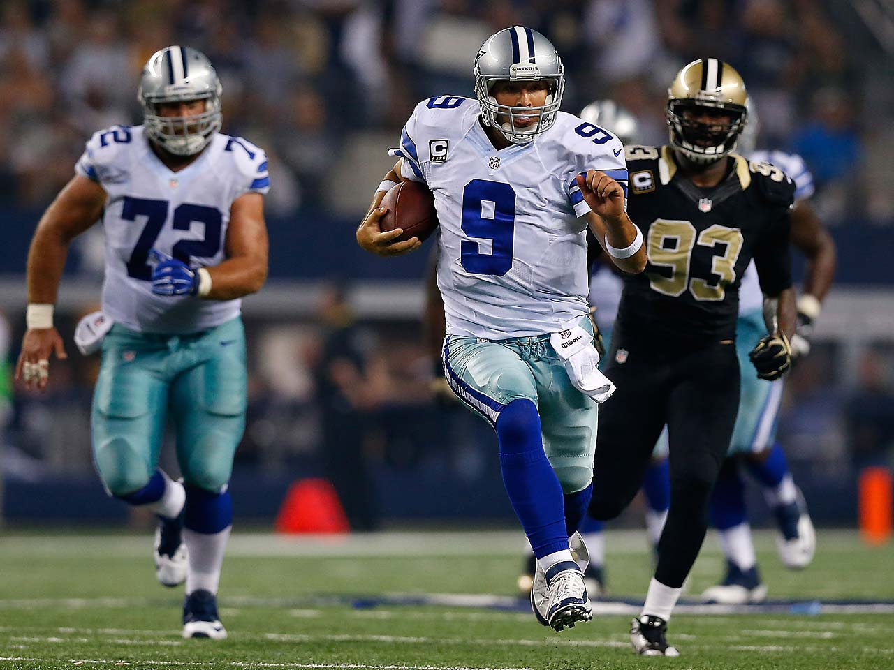 Tony Romo had the longest run of his career against the Saints, scrambling for 21 yards.