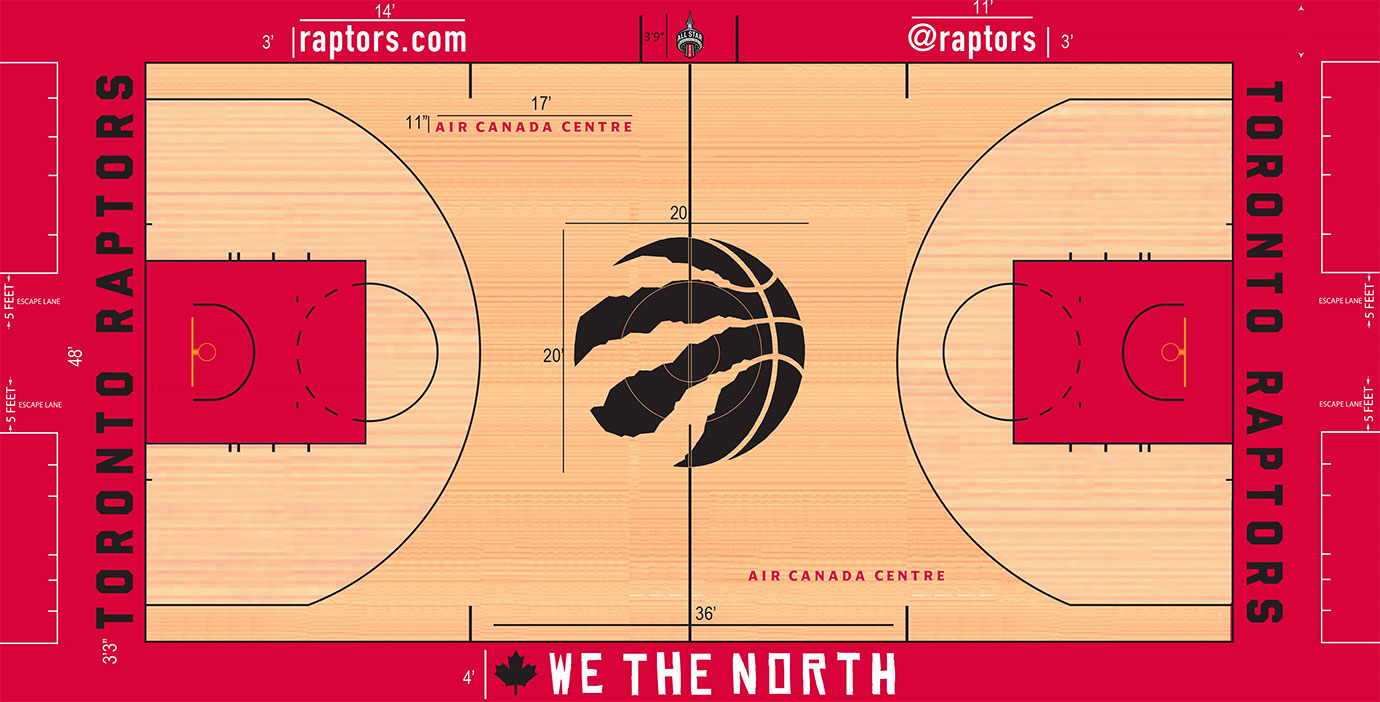 We the North. Adding the team's well-known phrase, with a maple leaf, mind you, to the apron was a nice touch on a court heavily improved by recent upgrades in color and logo choice. The use of an all-black, claw-ripping logo in the center truly gives Toronto a tastefully done and original logo that doesn't detract from the brand of the team.