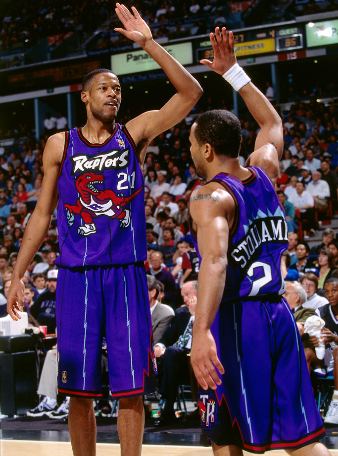 Marcus Camby and Damon Stoudamire probably weren't celebrating the Raptors' imposing dinosaur in March 1997.