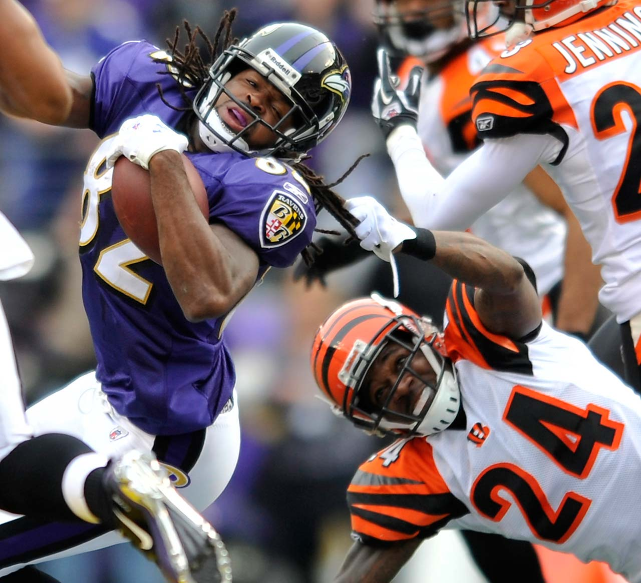 The league ruled in 2003 that long hair is an extension of the uniform, and thus it's OK to grab it to make a tackle. Torrey Smith learned that lesson the hard way when Adam Jones yanked Smith's hair during a 2011 game. Here are some other rules closely associated with players and coaches.