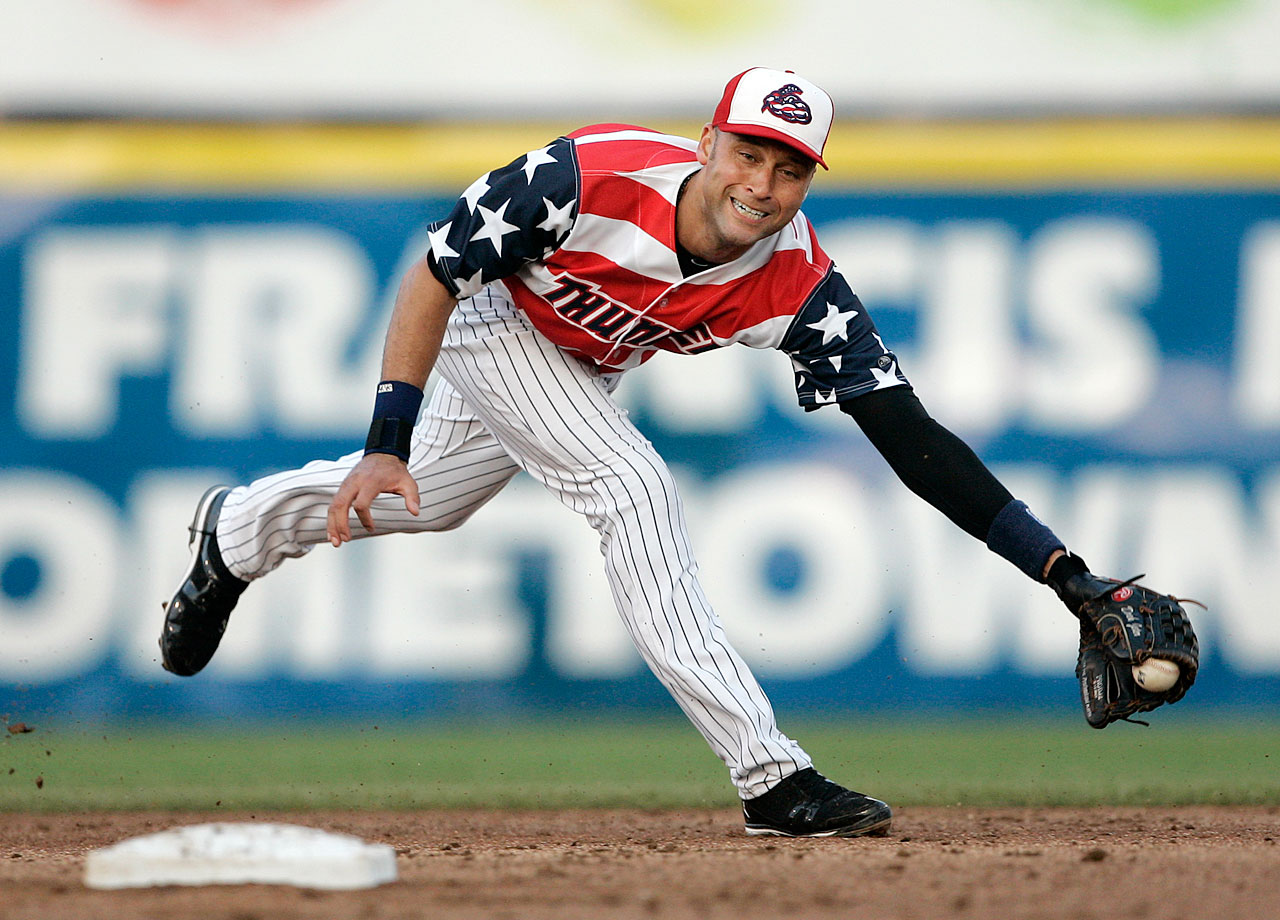The Trenton Thunder were so excited to have Derek Jeter join the team as part of a rehab assignment in 2011, they designed these duds so he'd never forget his time there (as well as pay tribute to America).