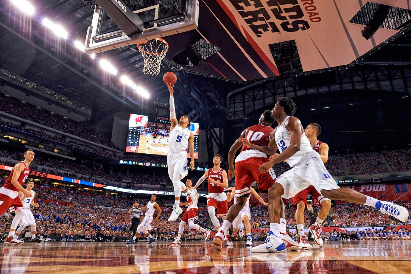 Tyus Jones shoots a layup for two of his 23 points. The Duke freshman was named the Most Outstanding Player of the Final Four.