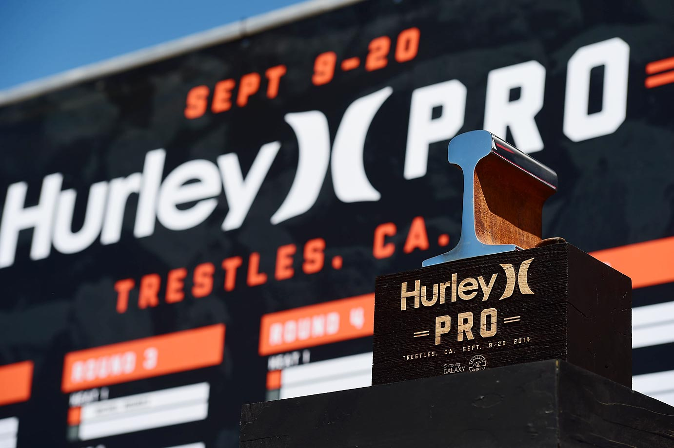 The Hurley Pro trophy is made in the shape of part of a railroad tie.