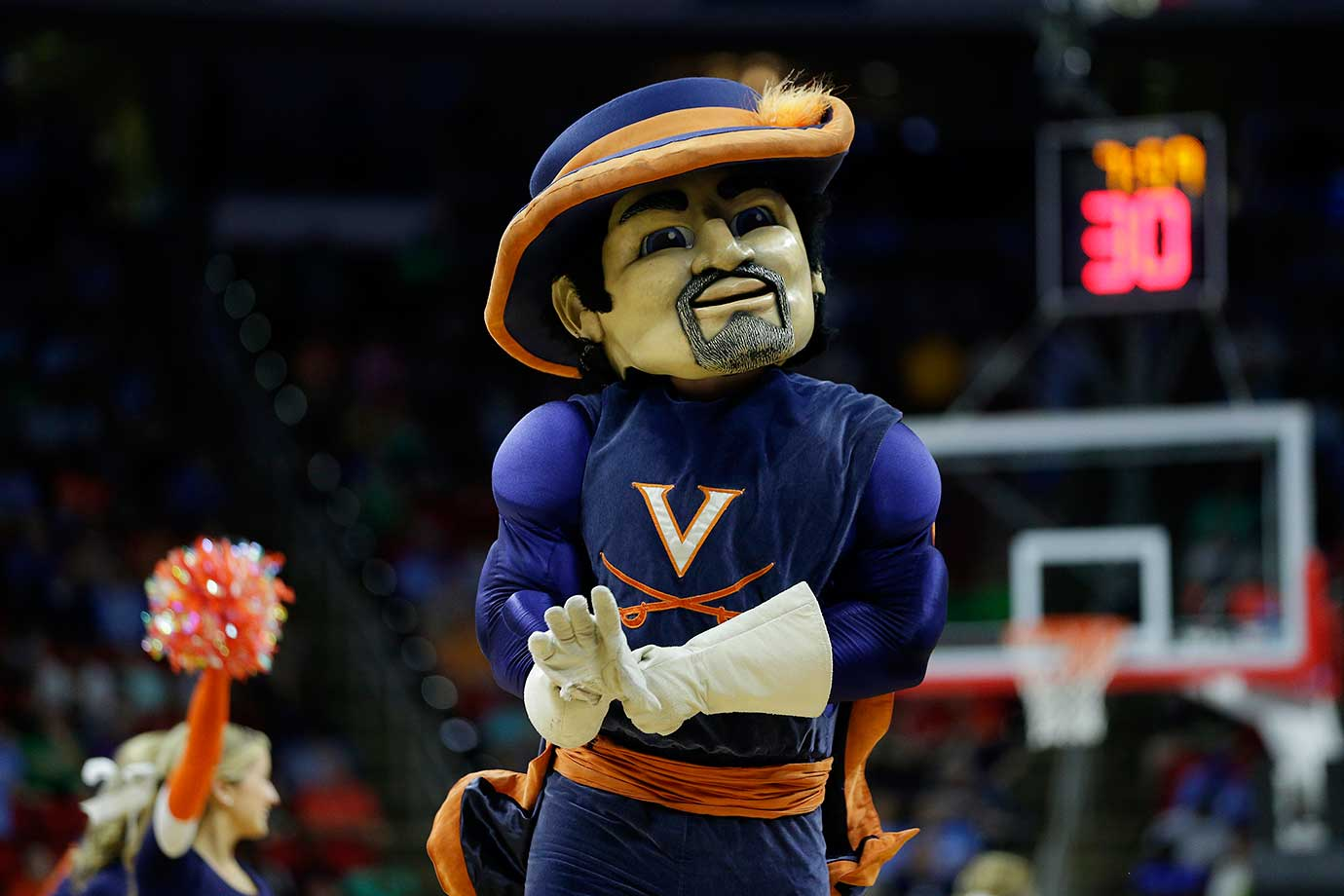 No. 2: During football season, Virginia's mascot, CavMan, will ride onto the field on a horse while dressed in actual Cavalier clothing rather than in a suit, which he saves for basketball season. The orange and navy blue color scheme is sleek, his white gloves are classy and you never want to tangle with a mascot who can wield a sword. It is both historical and elegant. (Text credit: Andrew Wittrey/SI.com)