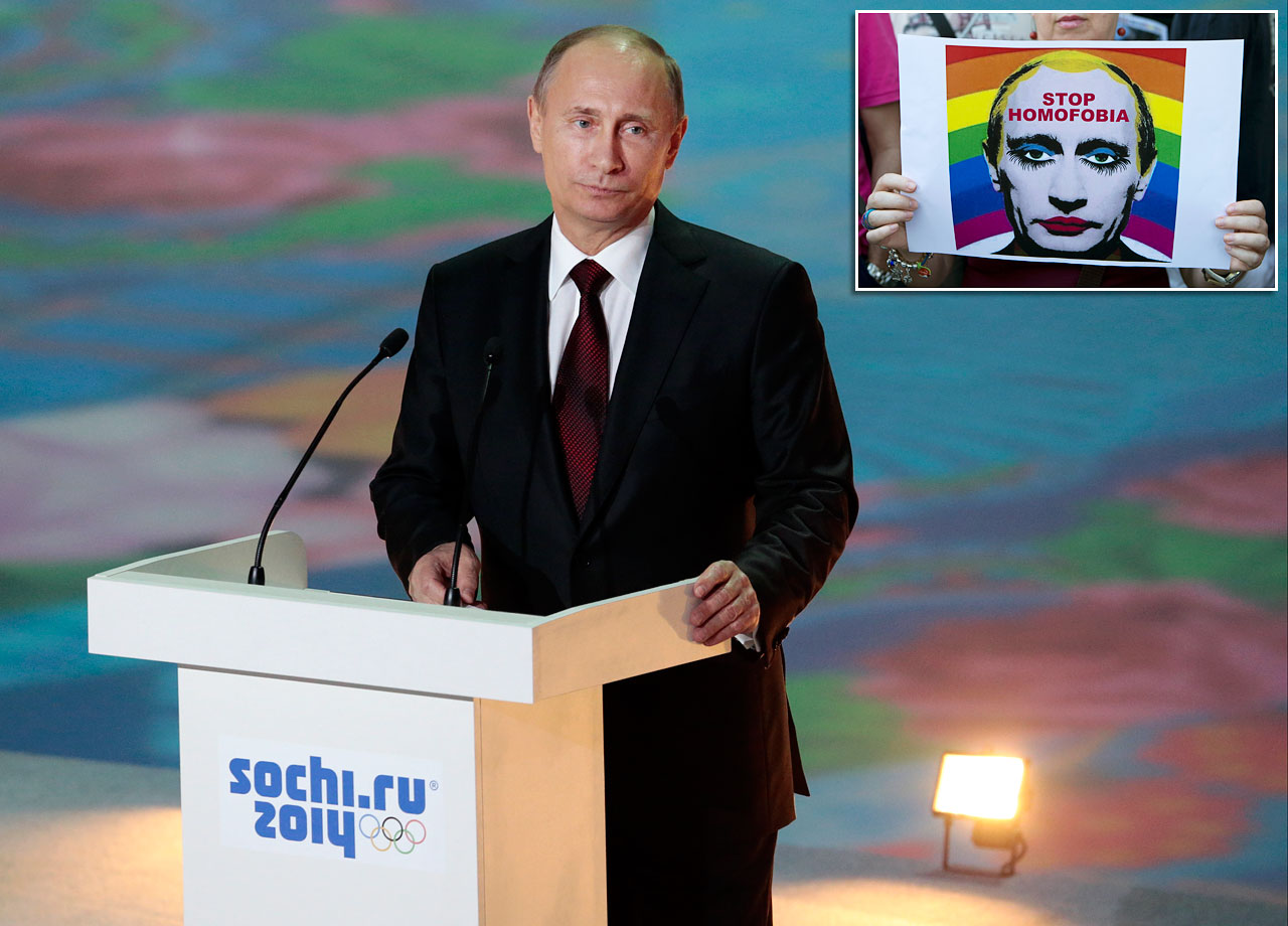 "Besides raising hell on the world stage with his military incursion into Ukraine, Russia's president fueled anger by defending his country's law banning ""gay propaganda"" at the Sochi Winter Olympics. Putin assured gay athletes and fans that they would be welcome if they ""leave the children in peace,"" and also said that Russia must ""cleanse"" itself of homosexuality to improve its birth rate."