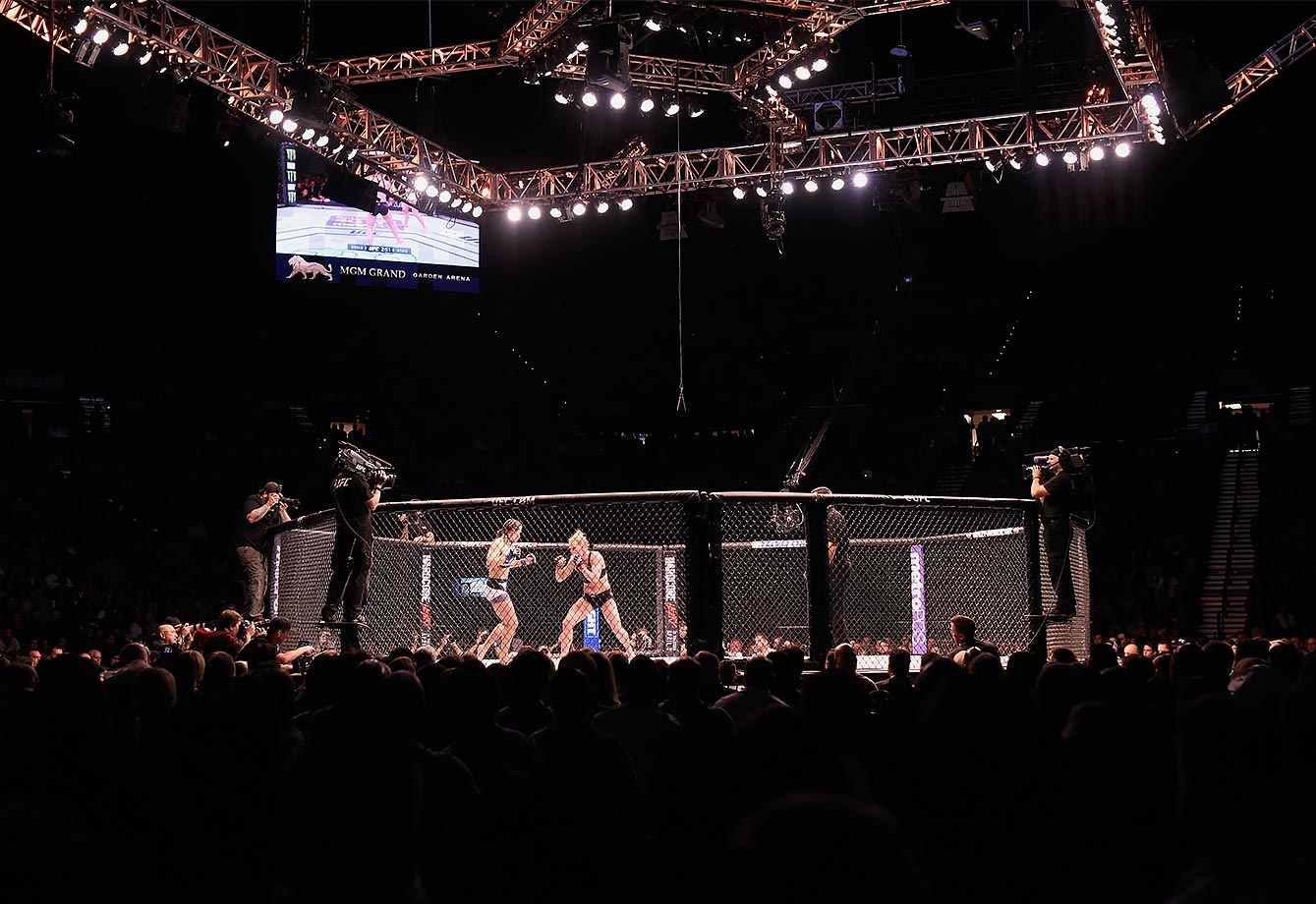 A general view of the Octagon during the world bantamweight championship fight between Holly Holm and Miesha Tate UFC 196 event inside MGM Grand Garden Arena on March 5, 2016 in Las Vegas, Nevada.