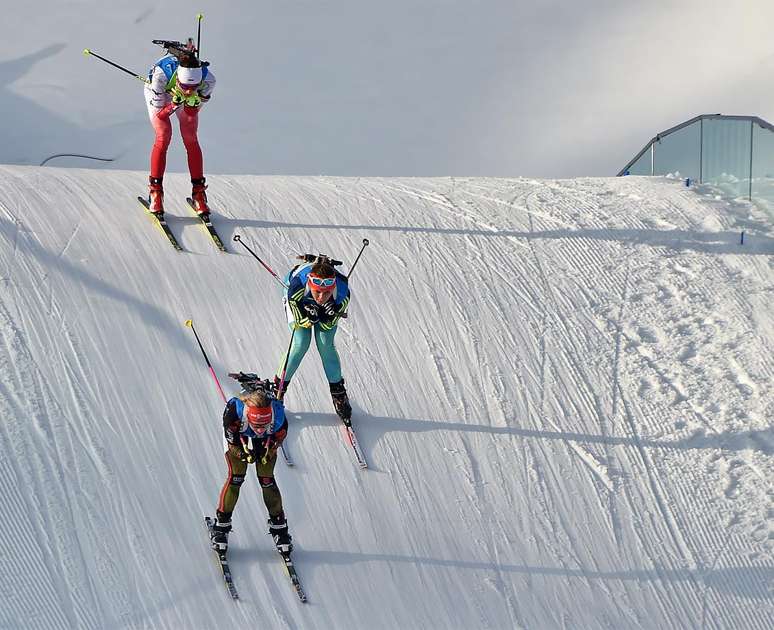 Female Biathletes Franziska Hildebrand of Germany, Iryna Varvynets of Ukraine and Monika Hojnisz of Poland compete during the women's 4 x 6-km relay at the Biathlon World Championships, in Oslo.