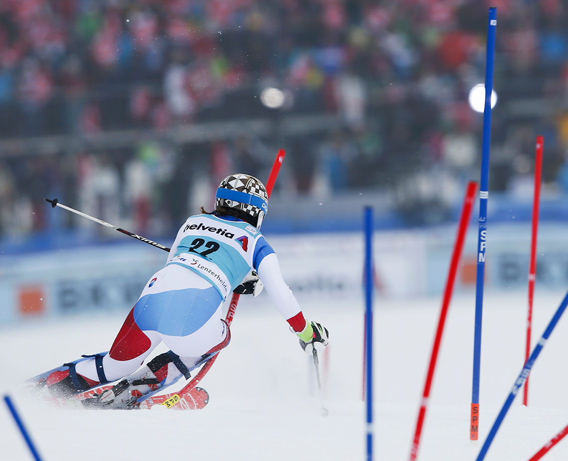 Switzerland's Michelle Gisin competes in the slalom portion of the Women's World Cup combined, in Lenzerheide, Switzerland.