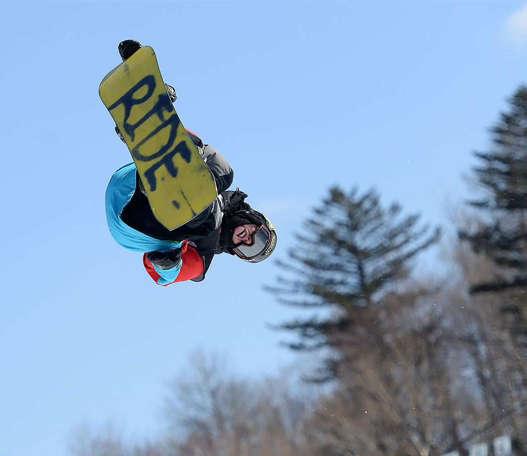 The U.S.'s Brandon Davis aims high during the men's big air qualifying round at the Corona World Championships of Snowboarding in Yabuli, in China's Heilongjiang Province.