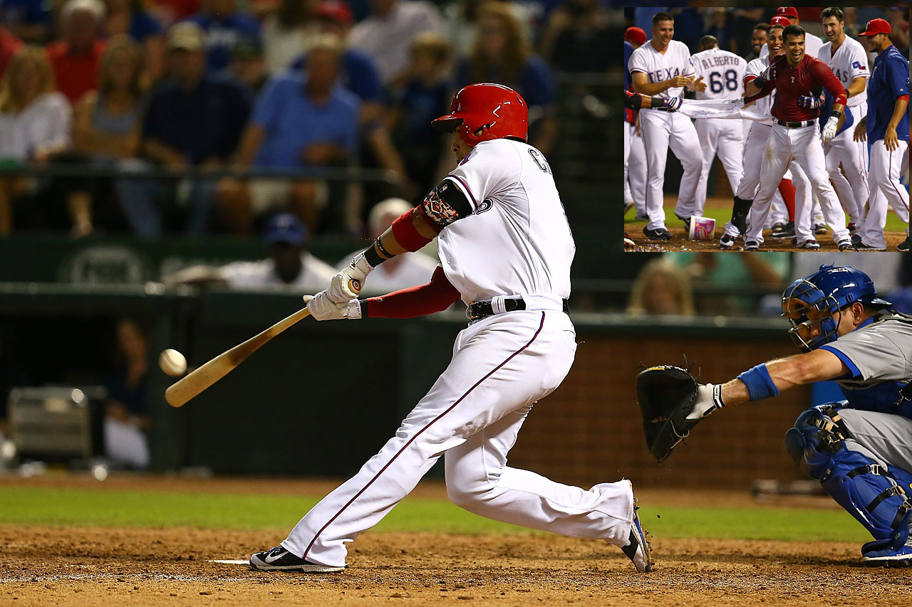 Robinson Chirinos lifted a ninth-inning shot out of Globe Life Park on June 16 to seal a 3-2 win over the Los Angeles Dodgers.