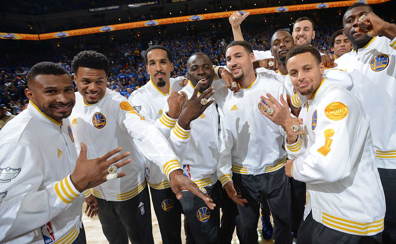 Here is our favorite photo from every game Golden State has won during its record-breaking 2015-16 season, starting with the Warriors ring ceremony before the season opener against New Orleans.
