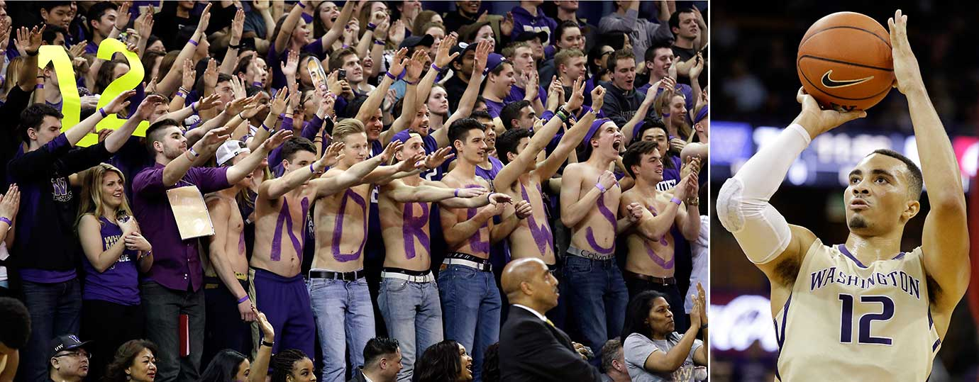 Washington fans, with Andrews spelled on their chests, pay tribute to Andrew Andrews, right, on Senior Night.