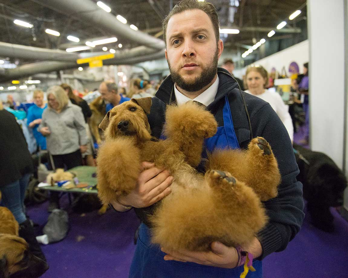 A man carries his dog through the grooming area of the Westminster Kennel Club dog show.