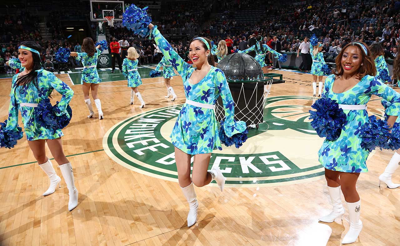 The Milwaukee Bucks dance team had on some colorful outfits Friday night.