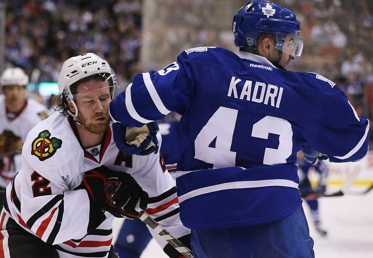 Duncan Keith catches a Nazem Kadri elbow  as the Toronto Maple Leafs lose to the Chicago Blackhawks 4-1 at the  Air Canada Centre in Toronto.
