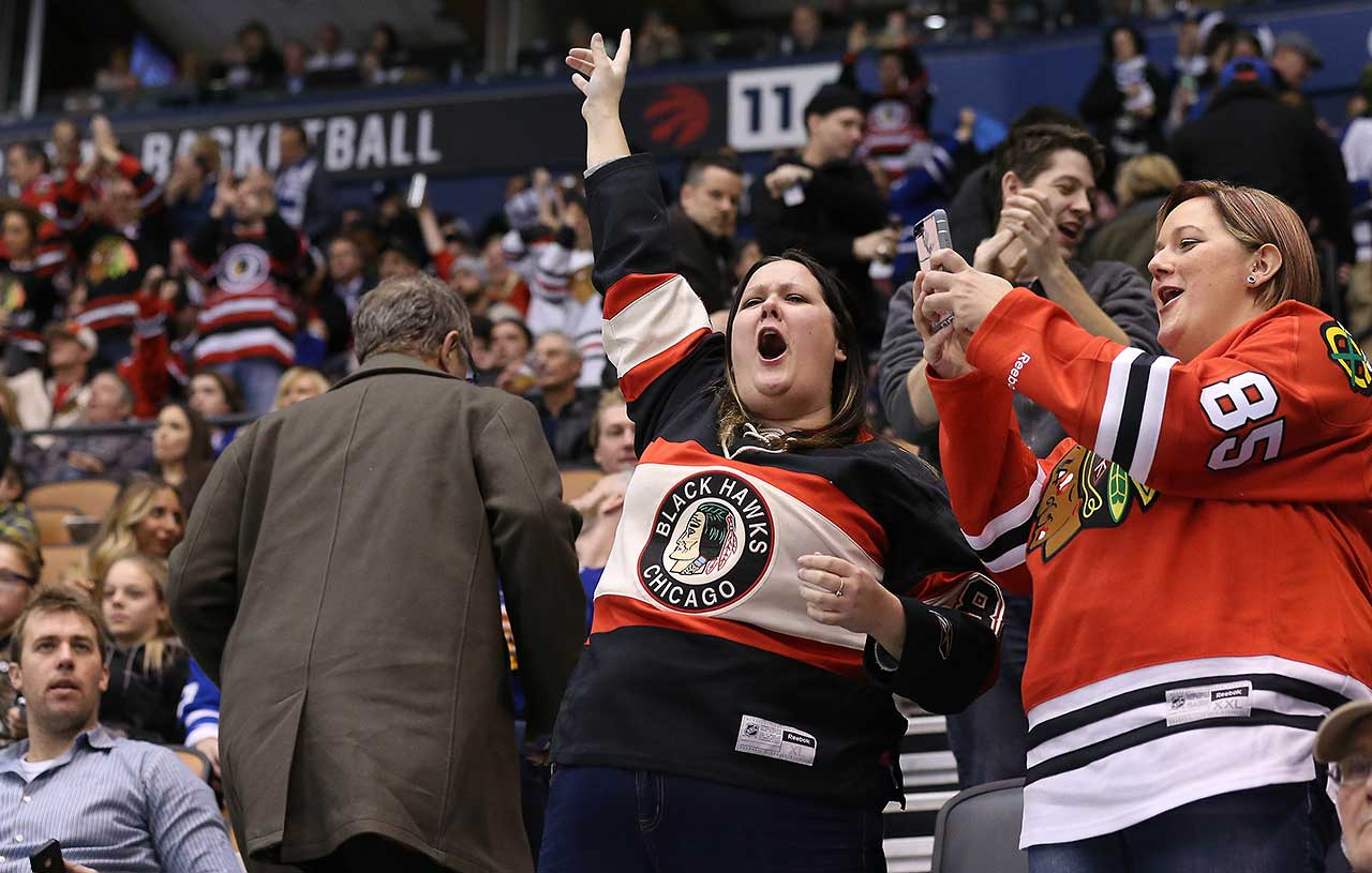 Chicago Blackhawks fans cheer as the Toronto Maple Leafs lose to the Chicago Blackhawks at the  Air Canada Centre in Toronto.