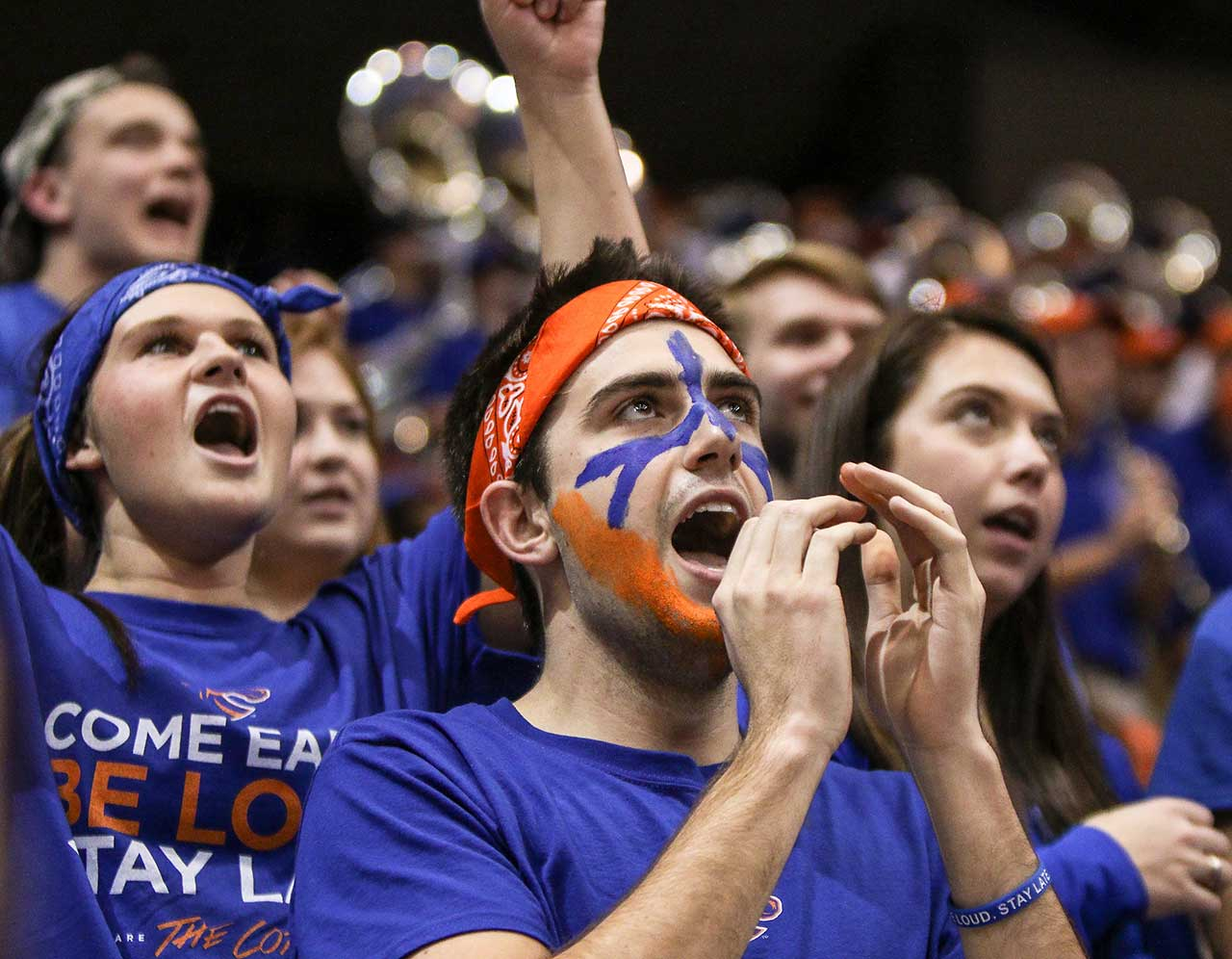 Boise State Broncos fans cheer during their team's 56-53 loss to the San Diego State Aztecs.