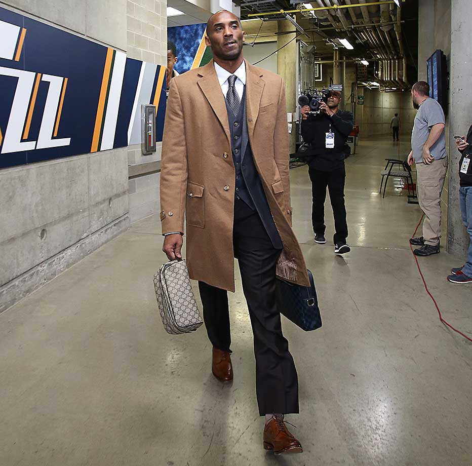 Kobe Bryant heading to the locker room before a game against the Utah Jazz.