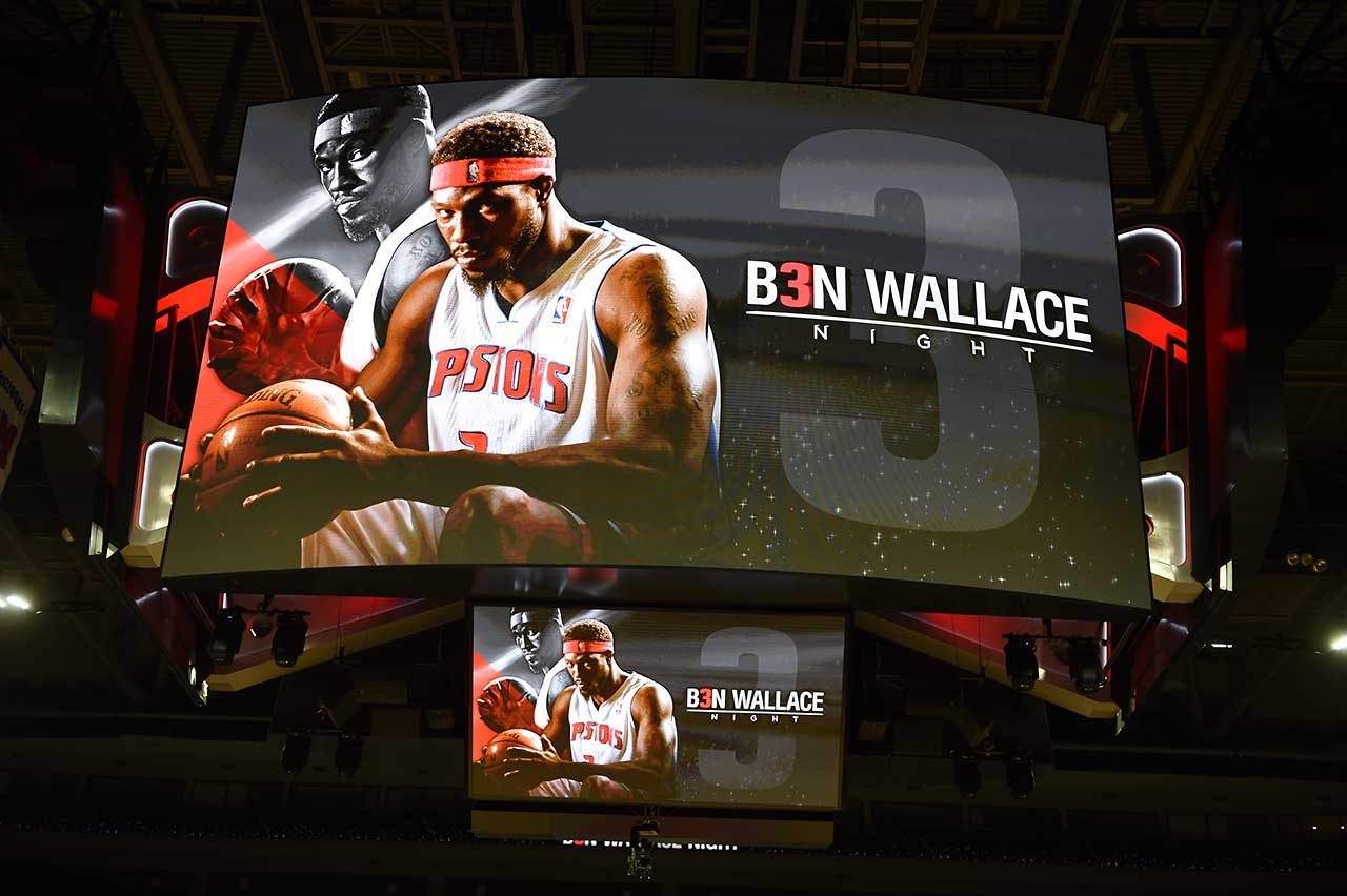 An image of the scoreboard honoring former Detroit Pistons player Ben Wallace is displayed before the game between the Detroit Pistons and the Golden State Warriors at The Palace of Auburn Hills.
