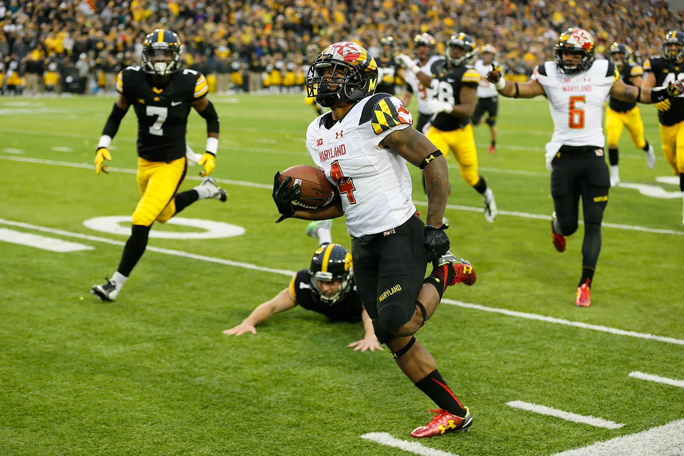 The versatile senior from Maryland holds several Terrapins records, including most interception return yards in a season and single-game punt and kickoff return yards. He spent most of his time as a cornerback and returner, but he also started at wide receiver against Wisconsin. Big Ten coaches listed him first-team All-Big Ten as both a corner and returner, and he was an All-America punt returner.
