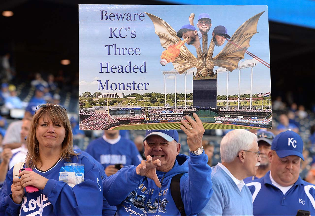 A Royals fan shows his support.